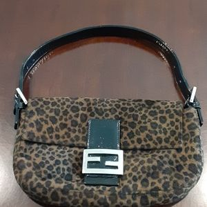 Leopard fur purse